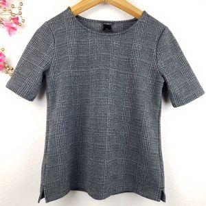 Ann Taylor gray plaid short sleeves top
